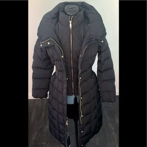 Cole Haan Long Hooded Down Feathers Puffer Coat XS